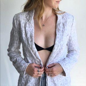 Joie Linen Animal Print Blazer